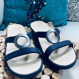 CROCS Women's Sz 7M Sandals Blue Tan Silver VGUC